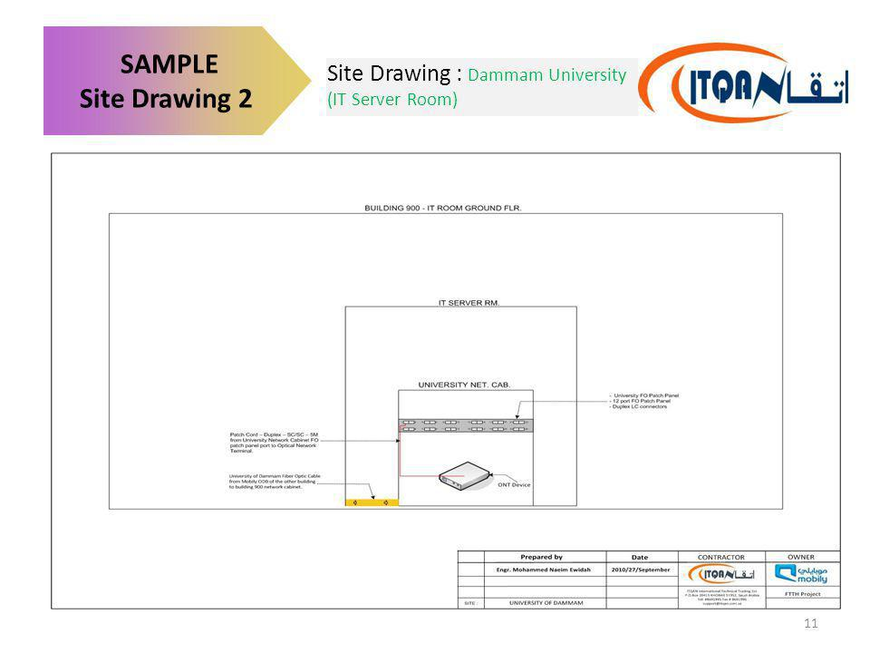 Site Drawing : Dammam University (IT Server Room) SAMPLE Site Drawing 2 11