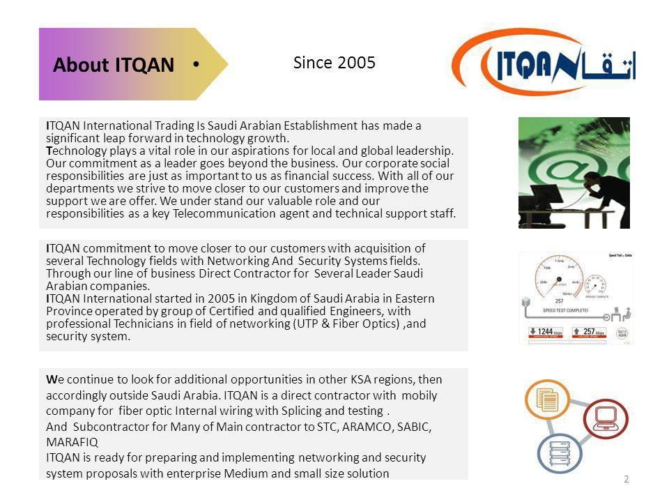 Since 2005 About ITQAN ITQAN International Trading Is Saudi Arabian Establishment has made a significant leap forward in technology growth. Technology