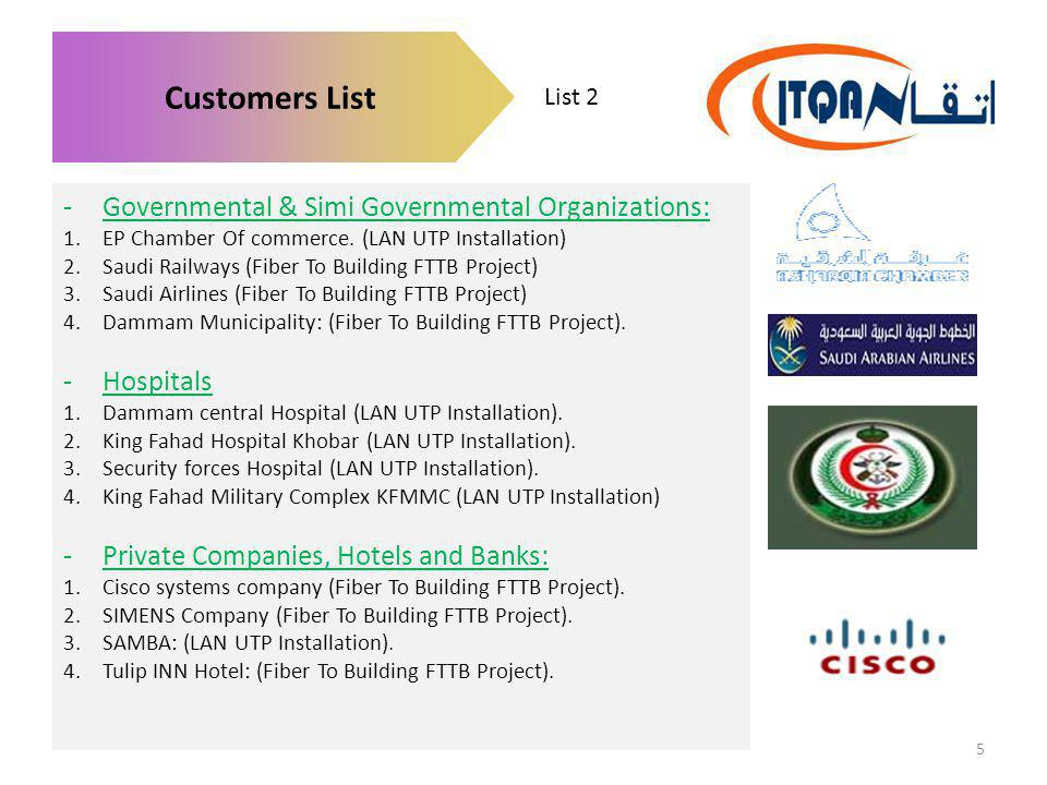 List 2 Customers List -Governmental & Simi Governmental Organizations: 1.EP Chamber Of commerce. (LAN UTP Installation) 2.Saudi Railways (Fiber To Bui