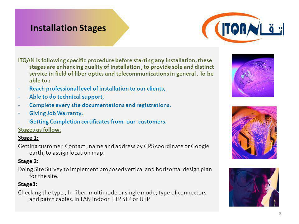 Installation Stages ITQAN is following specific procedure before starting any installation, these stages are enhancing quality of installation, to pro