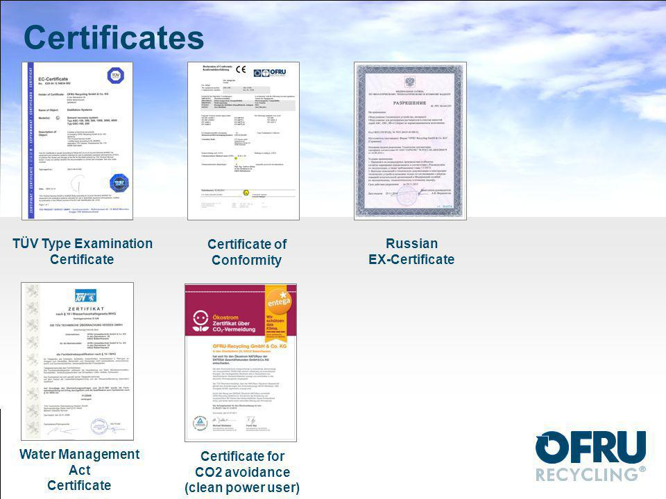 Certificates TÜV Type Examination Certificate Certificate of Conformity Russian EX-Certificate Water Management Act Certificate Certificate for CO2 av