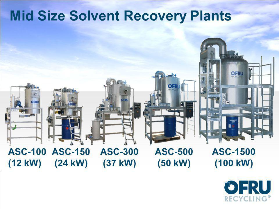 Mid Size Solvent Recovery Plants ASC-100 (12 kW) ASC-150 (24 kW) ASC-300 (37 kW) ASC-500 (50 kW) ASC-1500 (100 kW)