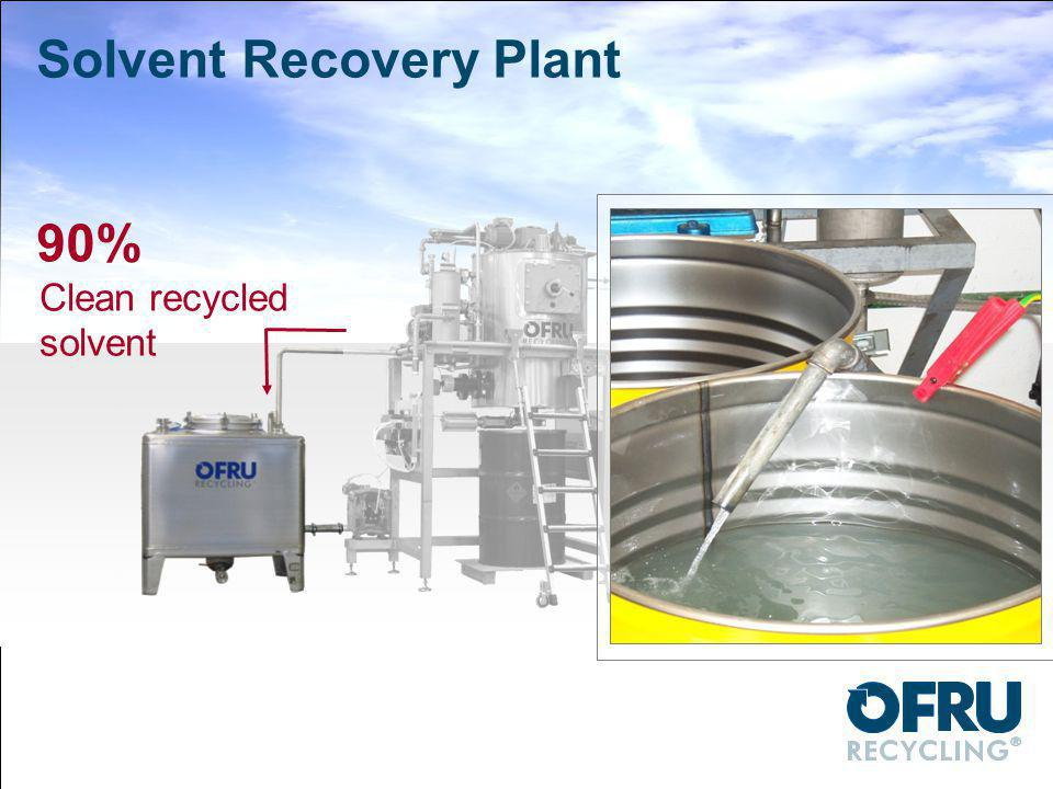 90% Clean recycled solvent Solvent Recovery Plant