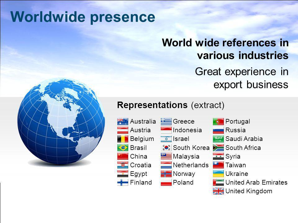 World wide references in various industries Great experience in export business Representations (extract) Worldwide presence Australia Austria Belgium