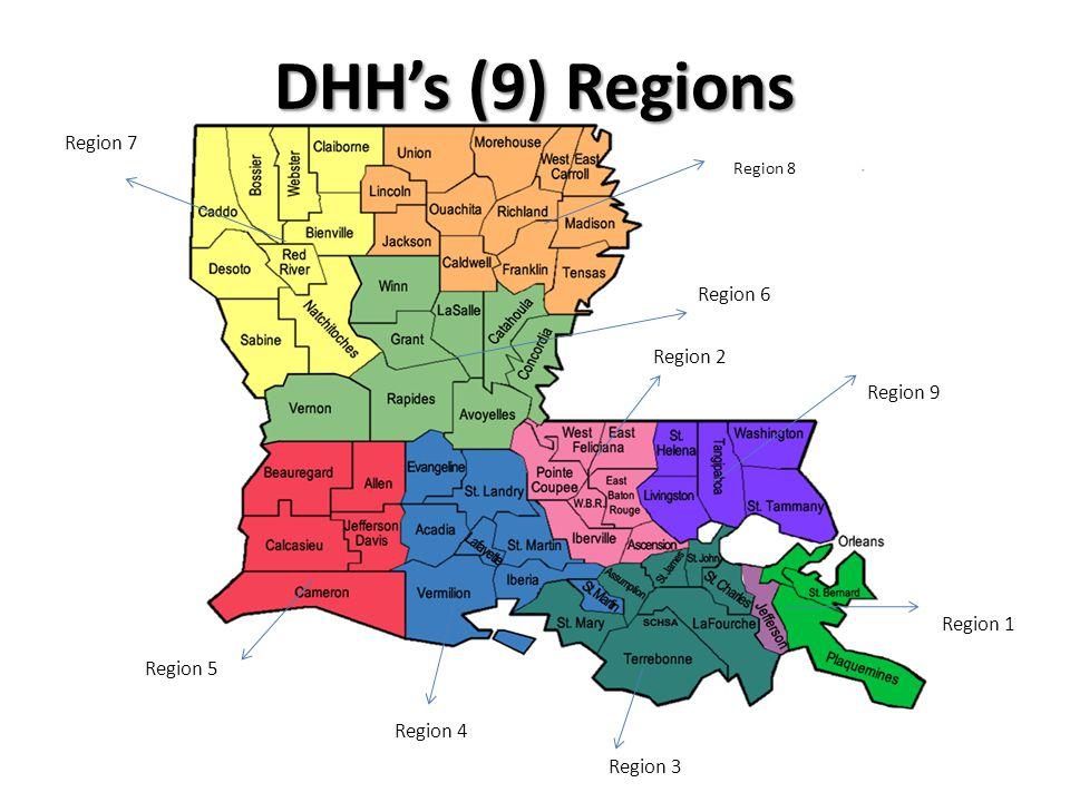 DHHs (9) Regions Region 8 Region 6 Region 5 Region 4 Region 3 Region 9 Region 7 Region 1 Region 2