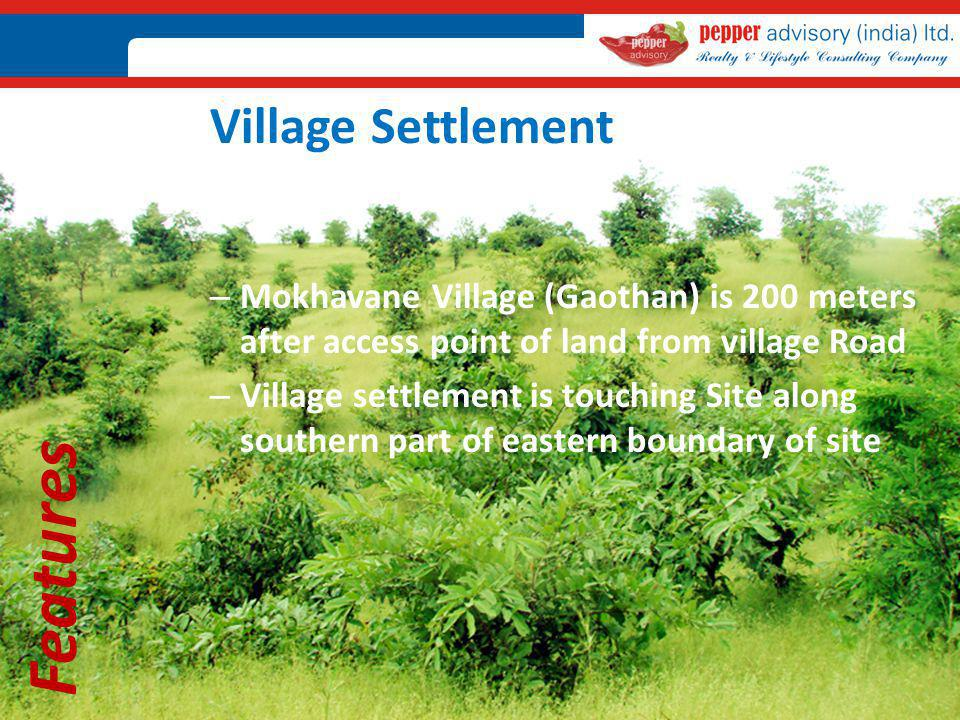 Features Village Settlement – Mokhavane Village (Gaothan) is 200 meters after access point of land from village Road – Village settlement is touching