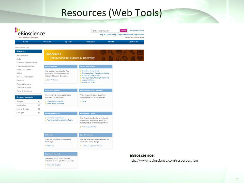 Resources (Web Tools) 7 eBioscience: http://www.ebioscience.com/resources.htm