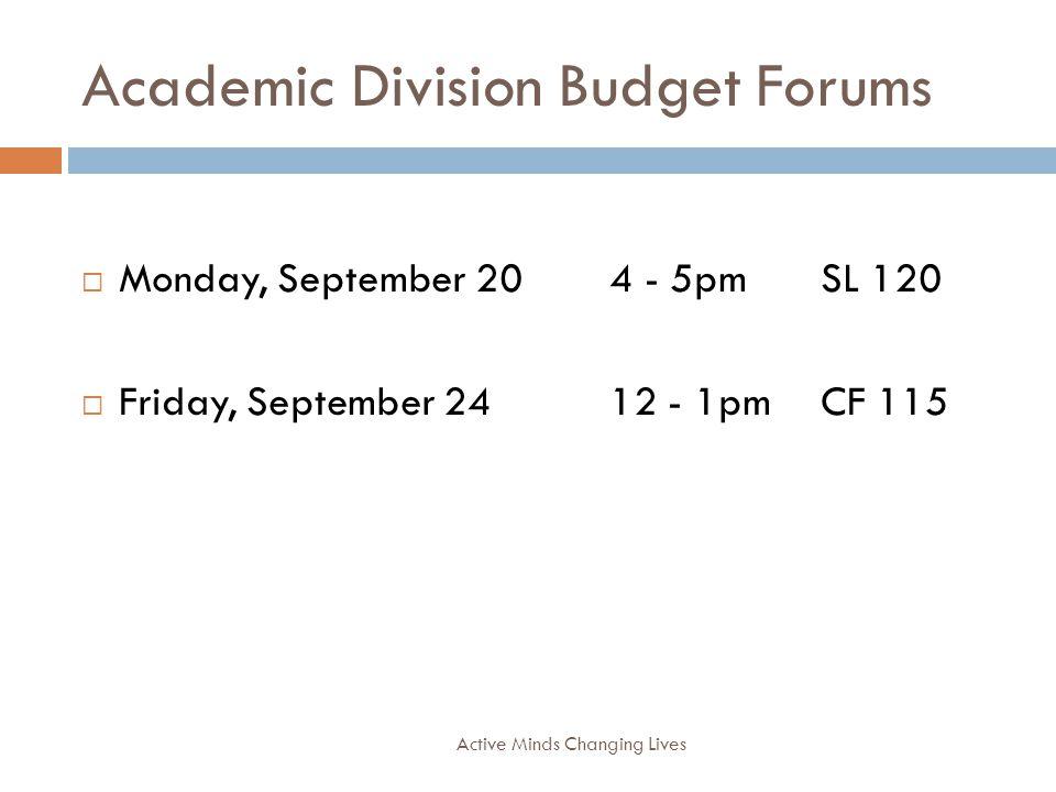 Academic Division Budget Forums Active Minds Changing Lives Monday, September 204 - 5pmSL 120 Friday, September 2412 - 1pmCF 115