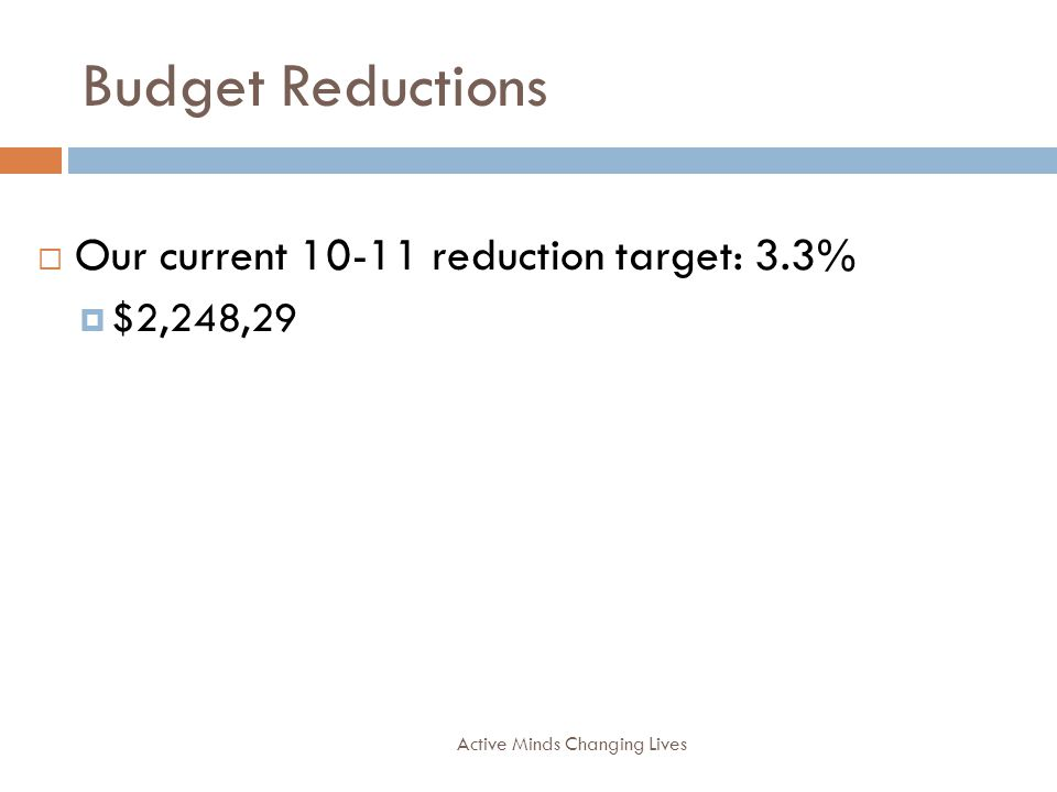Budget Reductions Active Minds Changing Lives Our current 10-11 reduction target: 3.3% $2,248,29