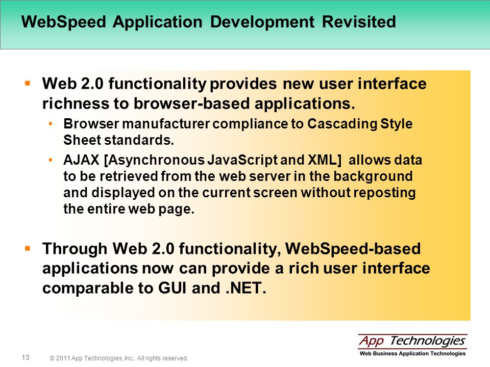 © 2011 App Technologies, Inc. All rights reserved. 13 WebSpeed Application Development Revisited Web 2.0 functionality provides new user interface ric