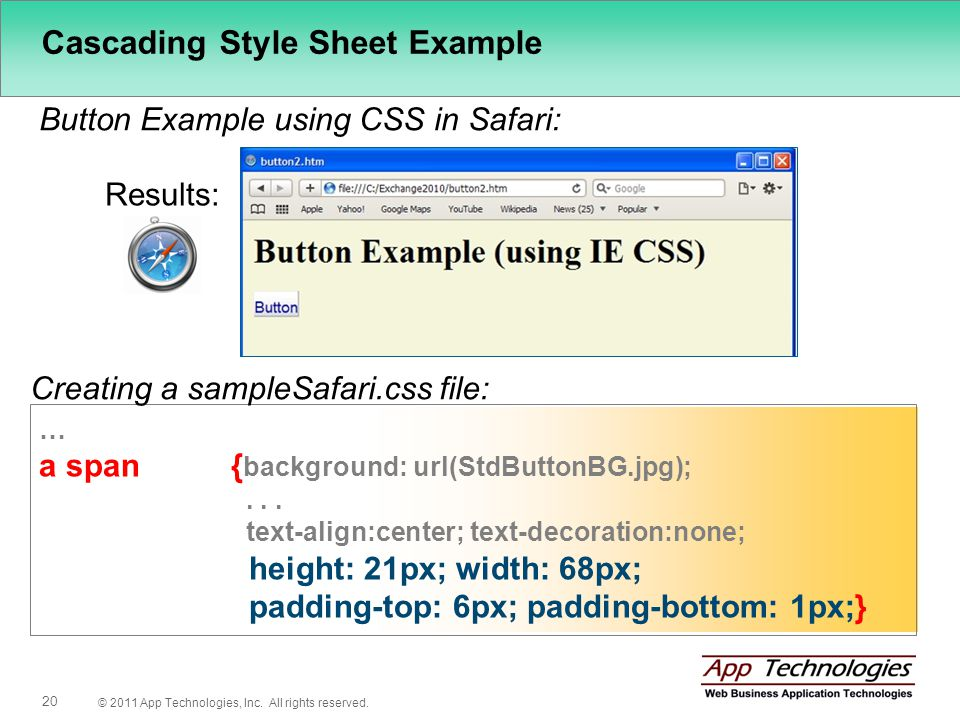© 2011 App Technologies, Inc. All rights reserved. 20 Cascading Style Sheet Example Button Example using CSS in Safari: Results: … a span { background