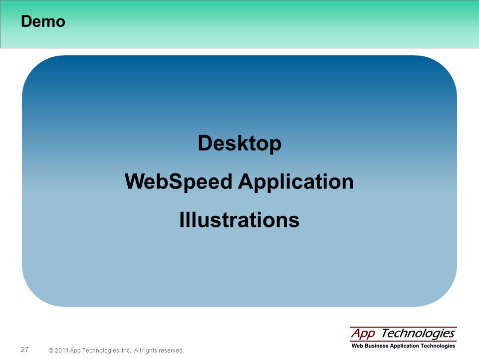 © 2011 App Technologies, Inc. All rights reserved. 27 Demo Desktop WebSpeed Application Illustrations