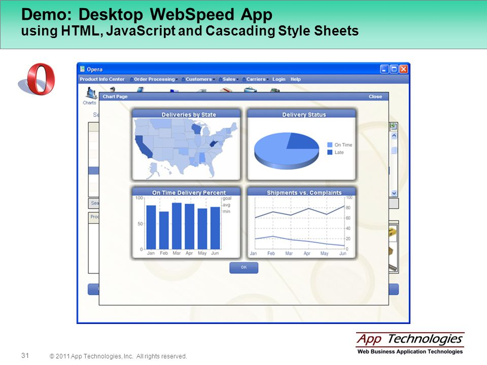 © 2011 App Technologies, Inc. All rights reserved. 31 Demo: Desktop WebSpeed App using HTML, JavaScript and Cascading Style Sheets