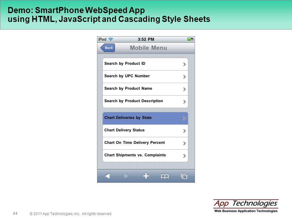© 2011 App Technologies, Inc. All rights reserved. 44 Demo: SmartPhone WebSpeed App using HTML, JavaScript and Cascading Style Sheets