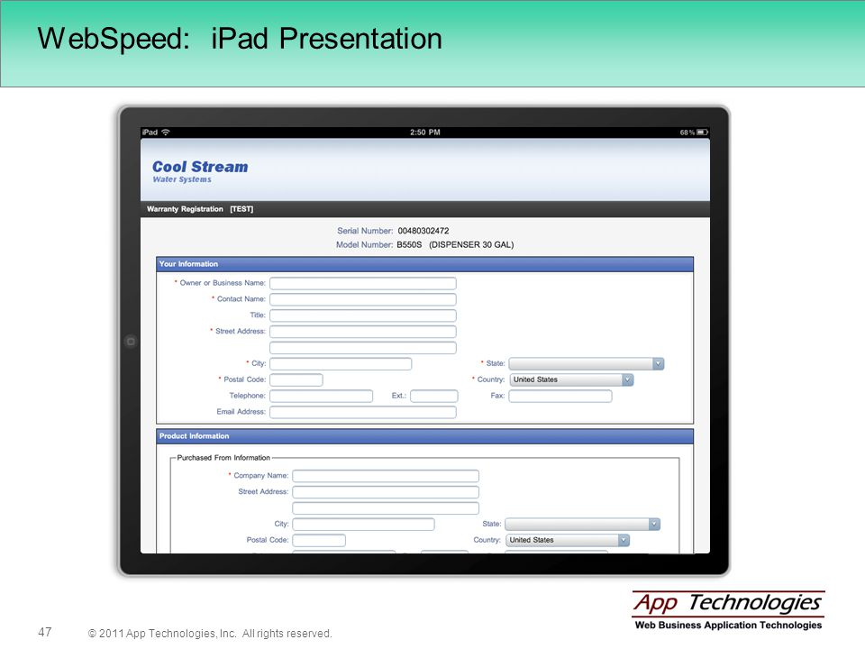 © 2011 App Technologies, Inc. All rights reserved. 47 WebSpeed: iPad Presentation
