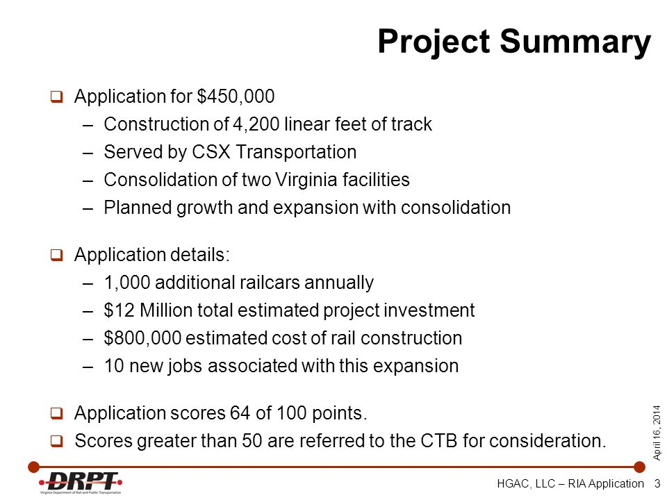 April 16, 2014 HGAC, LLC – RIA Application 3 Project Summary Application for $450,000 –Construction of 4,200 linear feet of track –Served by CSX Trans