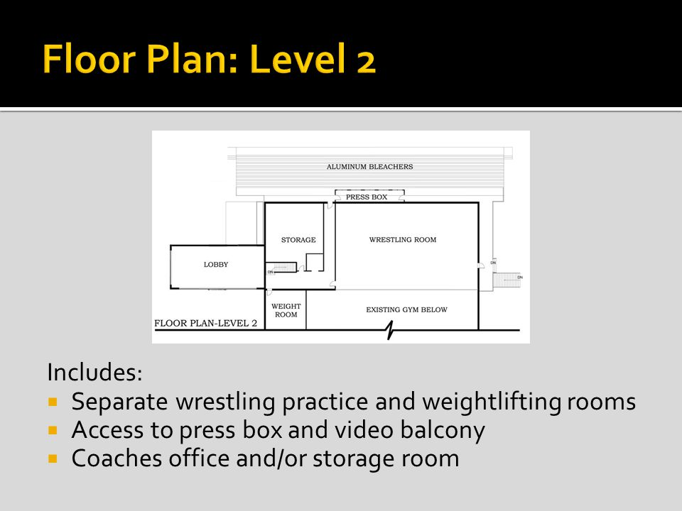 Includes: Separate wrestling practice and weightlifting rooms Access to press box and video balcony Coaches office and/or storage room