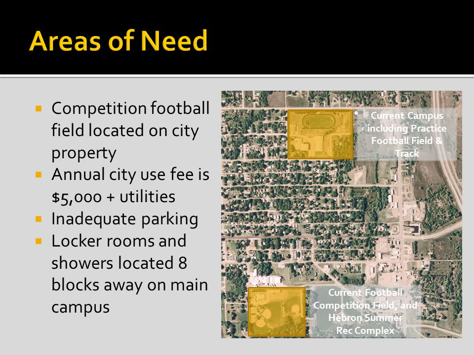 Competition football field located on city property Annual city use fee is $5,000 + utilities Inadequate parking Locker rooms and showers located 8 blocks away on main campus Current Campus including Practice Football Field & Track Current Football Competition Field, and Hebron Summer Rec Complex
