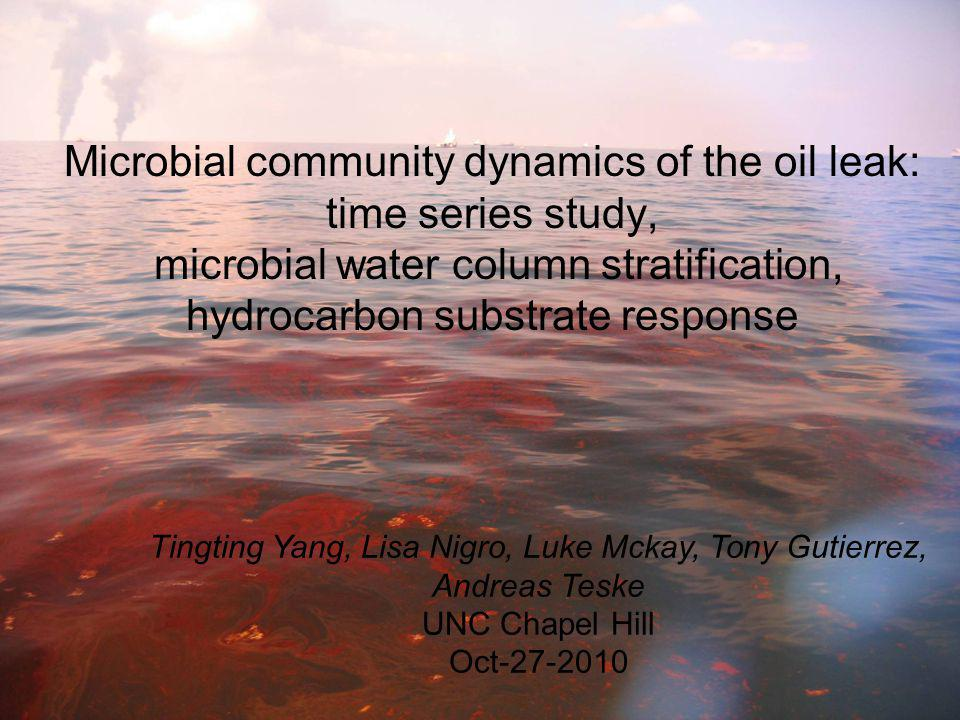 Microbial community dynamics of the oil leak: time series study, microbial water column stratification, hydrocarbon substrate response Tingting Yang, Lisa Nigro, Luke Mckay, Tony Gutierrez, Andreas Teske UNC Chapel Hill Oct-27-2010