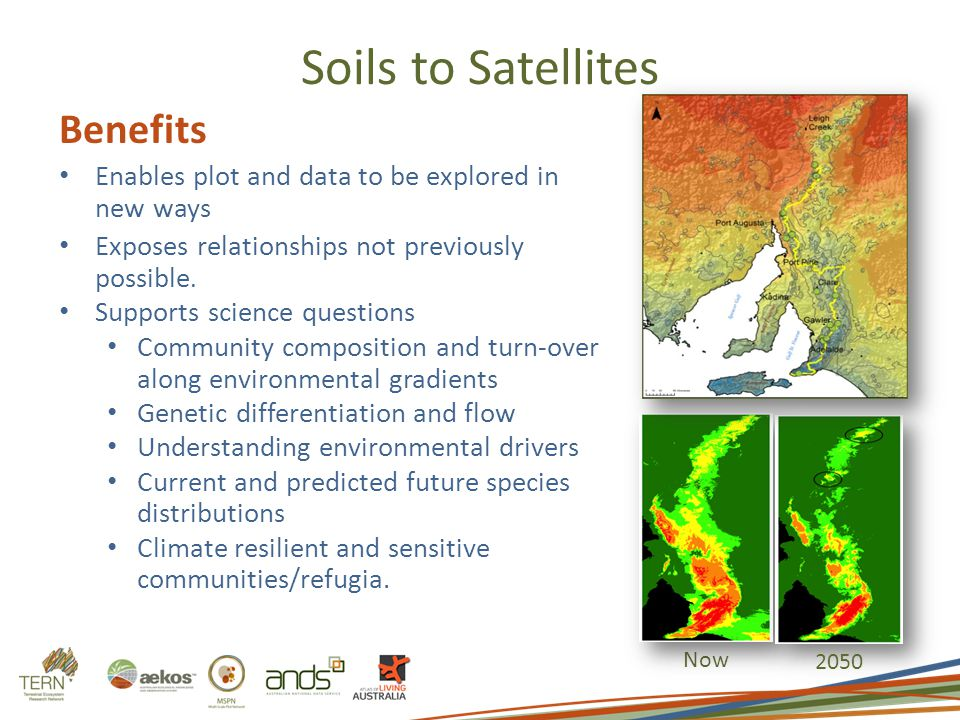 Soils to Satellites Now 2050 Benefits Enables plot and data to be explored in new ways Exposes relationships not previously possible. Supports science