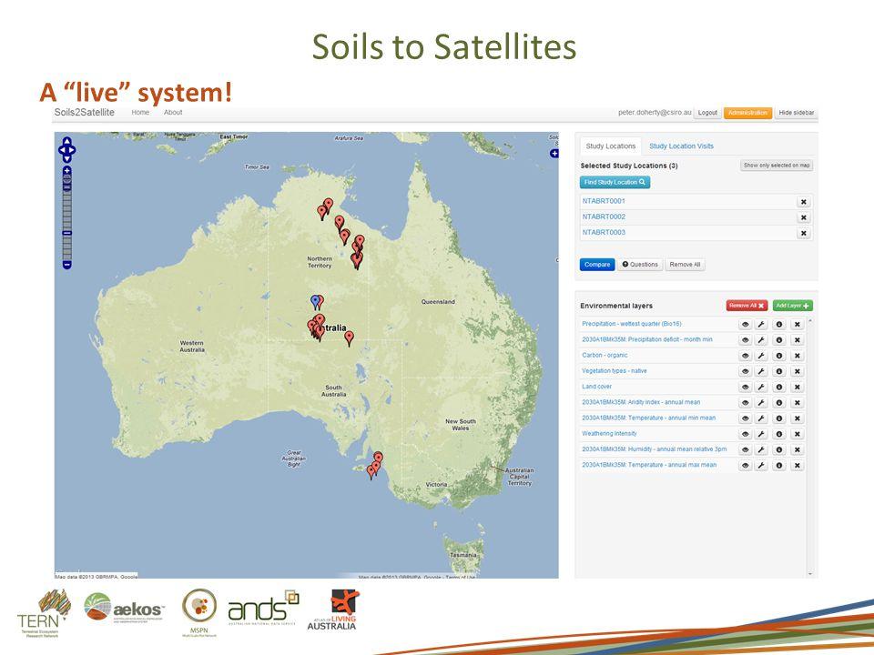 Soils to Satellites A live system!