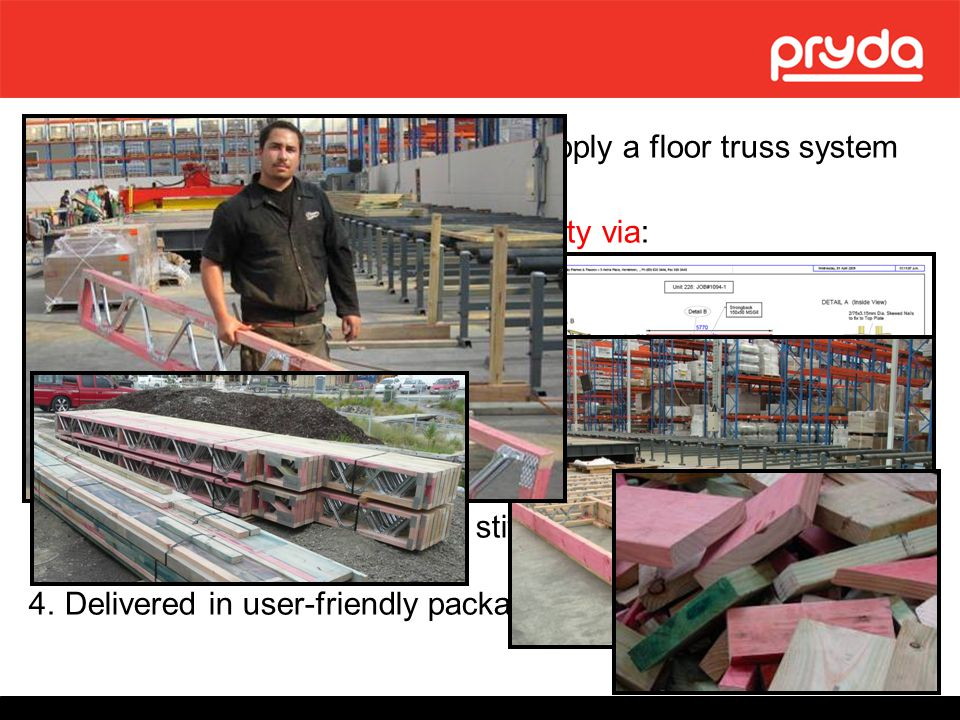 Fabricator identified opportunity to supply a floor truss system Demonstration of construction simplicity via: easy-to-read documentation full scale m