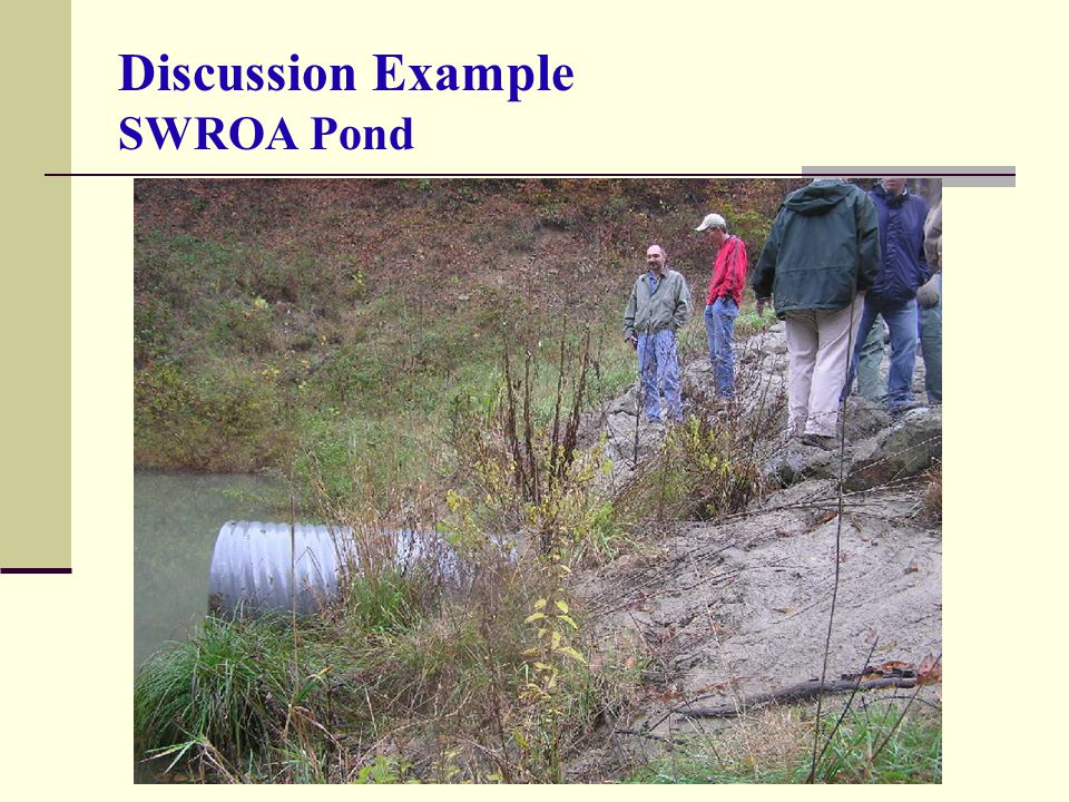 Discussion Example SWROA Pond