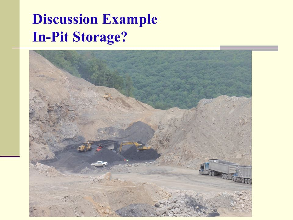 Discussion Example In-Pit Storage