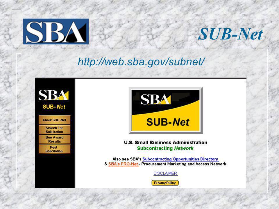 SUB-Net http://web.sba.gov/subnet/