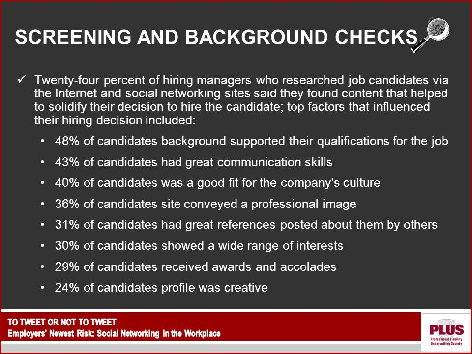 SCREENING AND BACKGROUND CHECKS Twenty-four percent of hiring managers who researched job candidates via the Internet and social networking sites said they found content that helped to solidify their decision to hire the candidate; top factors that influenced their hiring decision included: 48% of candidates background supported their qualifications for the job 43% of candidates had great communication skills 40% of candidates was a good fit for the company s culture 36% of candidates site conveyed a professional image 31% of candidates had great references posted about them by others 30% of candidates showed a wide range of interests 29% of candidates received awards and accolades 24% of candidates profile was creative