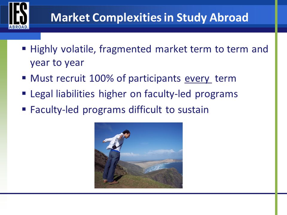 Market Complexities in Study Abroad Highly volatile, fragmented market term to term and year to year Must recruit 100% of participants every term Legal liabilities higher on faculty-led programs Faculty-led programs difficult to sustain