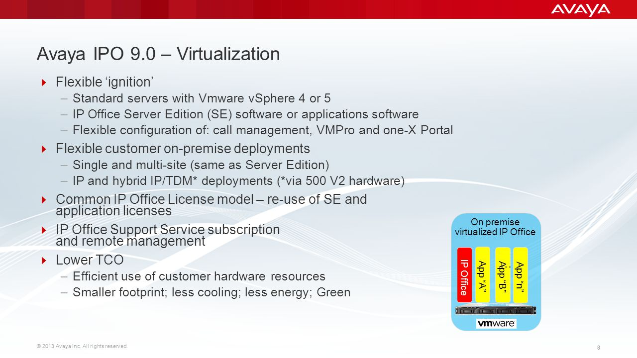 © 2013 Avaya Inc. All rights reserved. 88 Avaya IPO 9.0 – Virtualization Flexible ignition –Standard servers with Vmware vSphere 4 or 5 –IP Office Ser