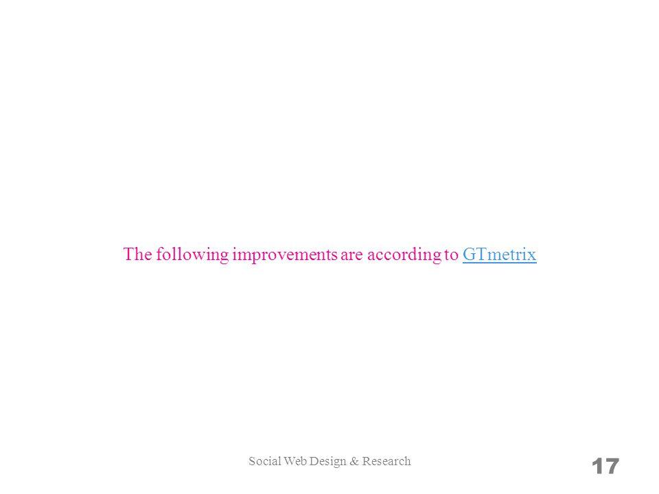 17 The following improvements are according to GTmetrixGTmetrix Social Web Design & Research