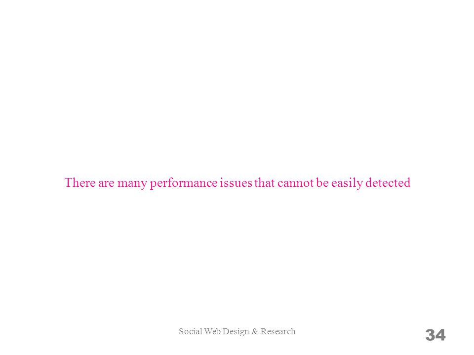 34 There are many performance issues that cannot be easily detected Social Web Design & Research
