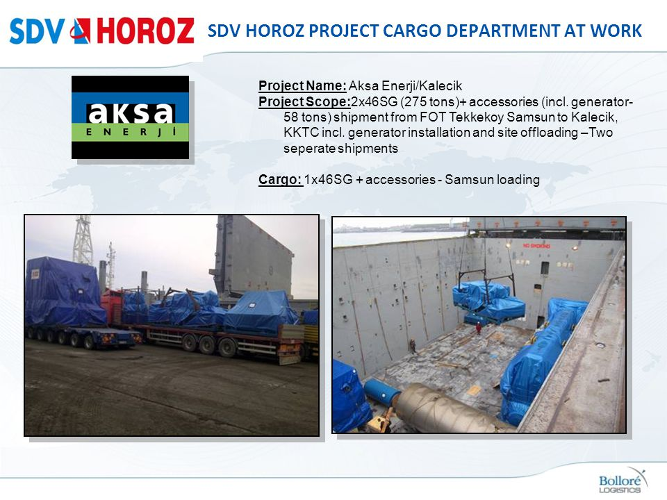 SDV HOROZ PROJECT CARGO DEPARTMENT AT WORK Project Name: Aksa Enerji/Kalecik Project Scope:2x46SG (275 tons)+ accessories (incl. generator- 58 tons) s