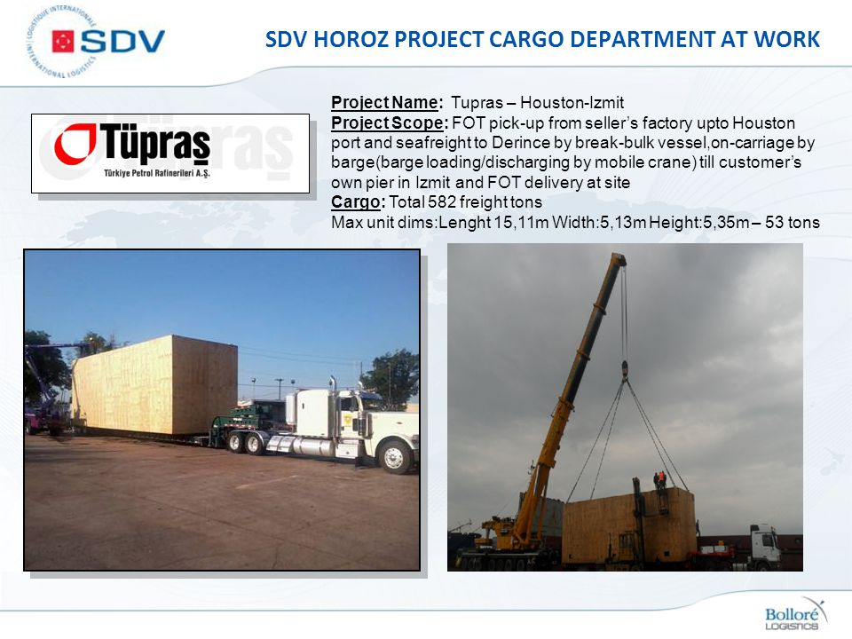 SDV HOROZ PROJECT CARGO DEPARTMENT AT WORK Project Name: Tupras – Houston-Izmit Project Scope: FOT pick-up from sellers factory upto Houston port and