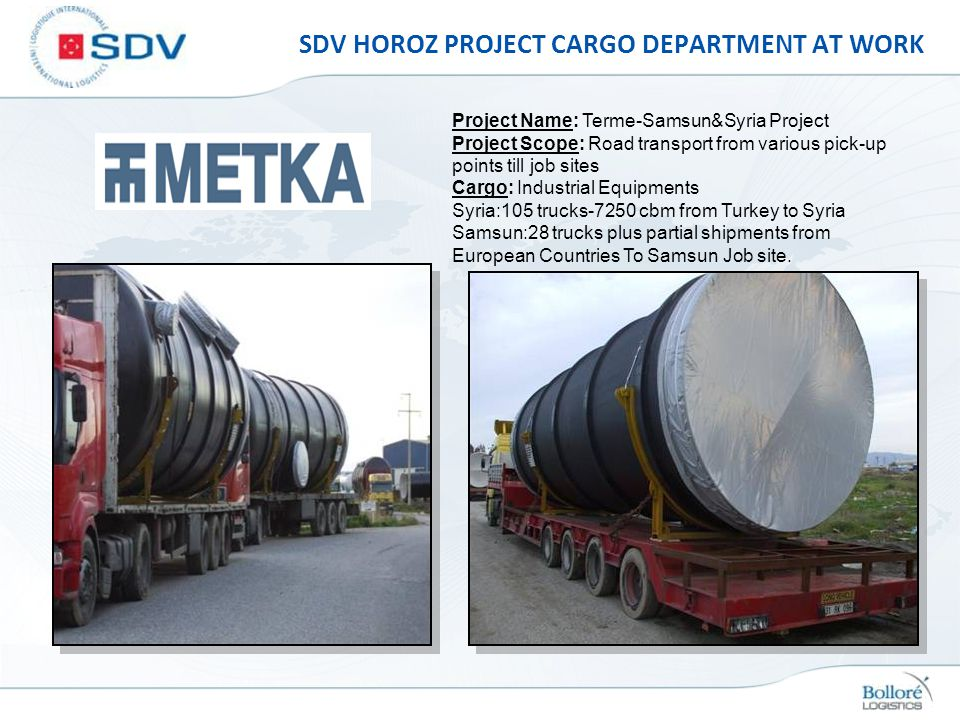 SDV HOROZ PROJECT CARGO DEPARTMENT AT WORK Project Name: Terme-Samsun&Syria Project Project Scope: Road transport from various pick-up points till job