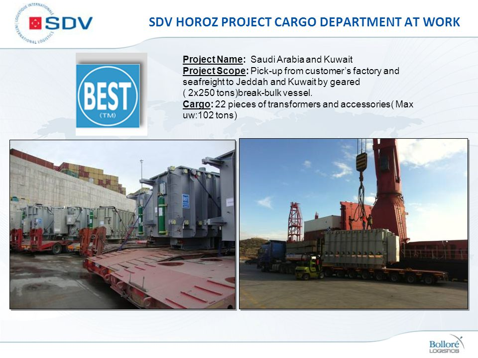 SDV HOROZ PROJECT CARGO DEPARTMENT AT WORK Project Name: Saudi Arabia and Kuwait Project Scope: Pick-up from customers factory and seafreight to Jedda