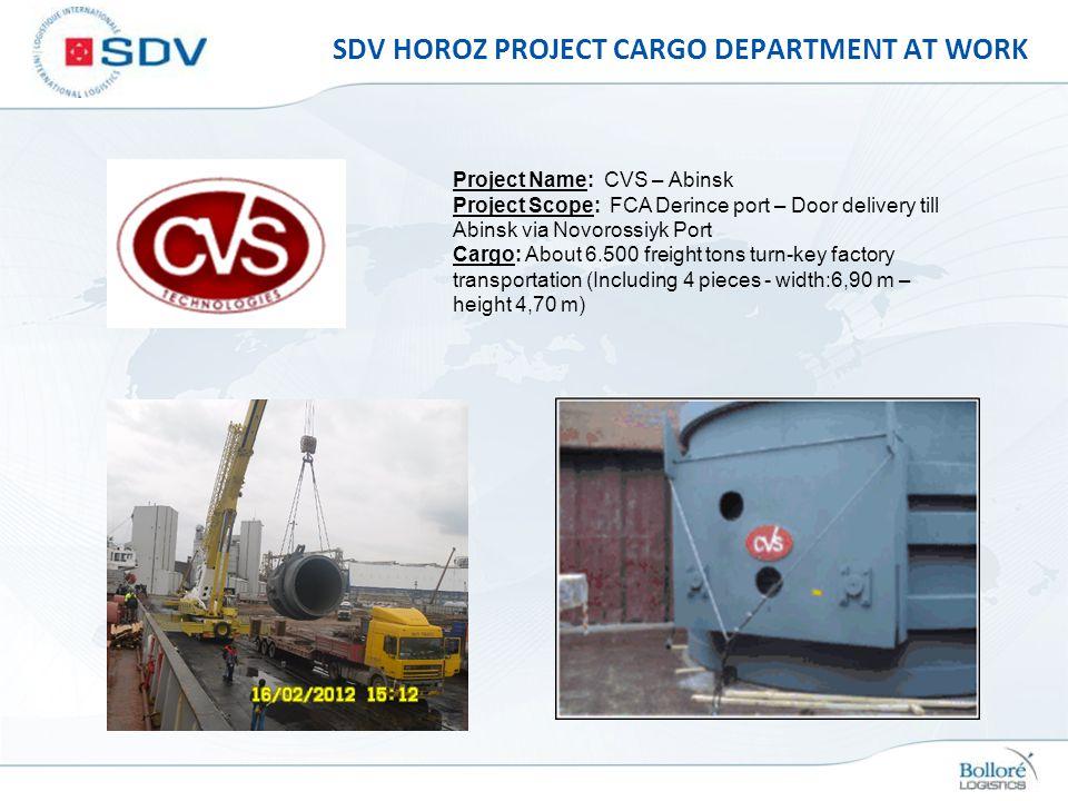 SDV HOROZ PROJECT CARGO DEPARTMENT AT WORK Project Name: CVS – Abinsk Project Scope: FCA Derince port – Door delivery till Abinsk via Novorossiyk Port
