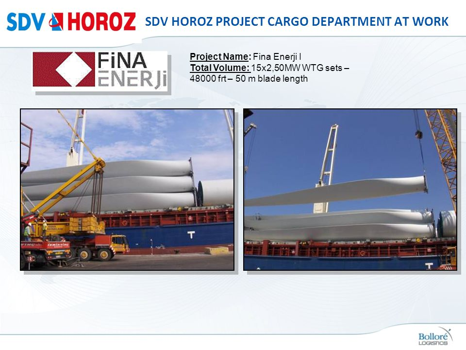 SDV HOROZ PROJECT CARGO DEPARTMENT AT WORK Project Name: Fina Enerji I Total Volume: 15x2,50MW WTG sets – 48000 frt – 50 m blade length