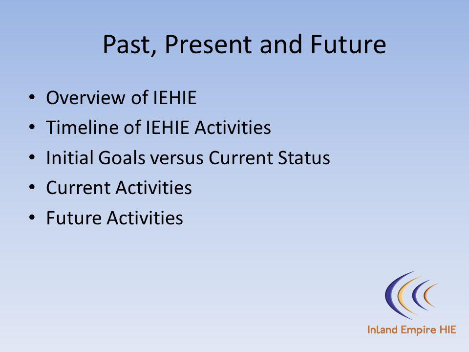 Past, Present and Future Overview of IEHIE Timeline of IEHIE Activities Initial Goals versus Current Status Current Activities Future Activities