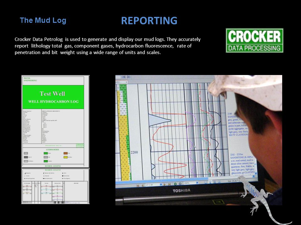 REPORTING Crocker Data Petrolog is used to generate and display our mud logs.