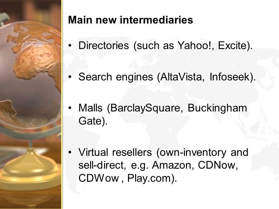 Main new intermediaries Directories (such as Yahoo!, Excite). Search engines (AltaVista, Infoseek). Malls (BarclaySquare, Buckingham Gate). Virtual re