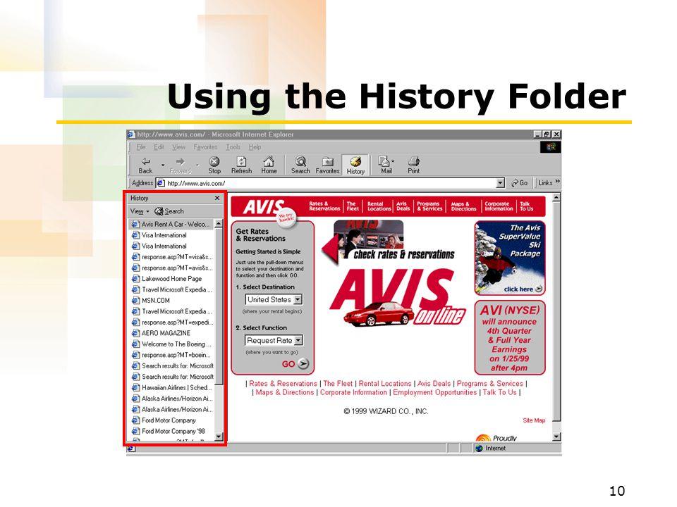 10 Using the History Folder