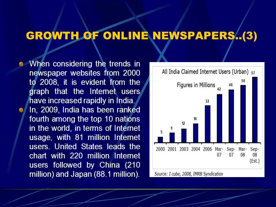 GROWTH OF ONLINE NEWSPAPERS..(3) When considering the trends in newspaper websites from 2000 to 2008, it is evident from the graph that the Internet u