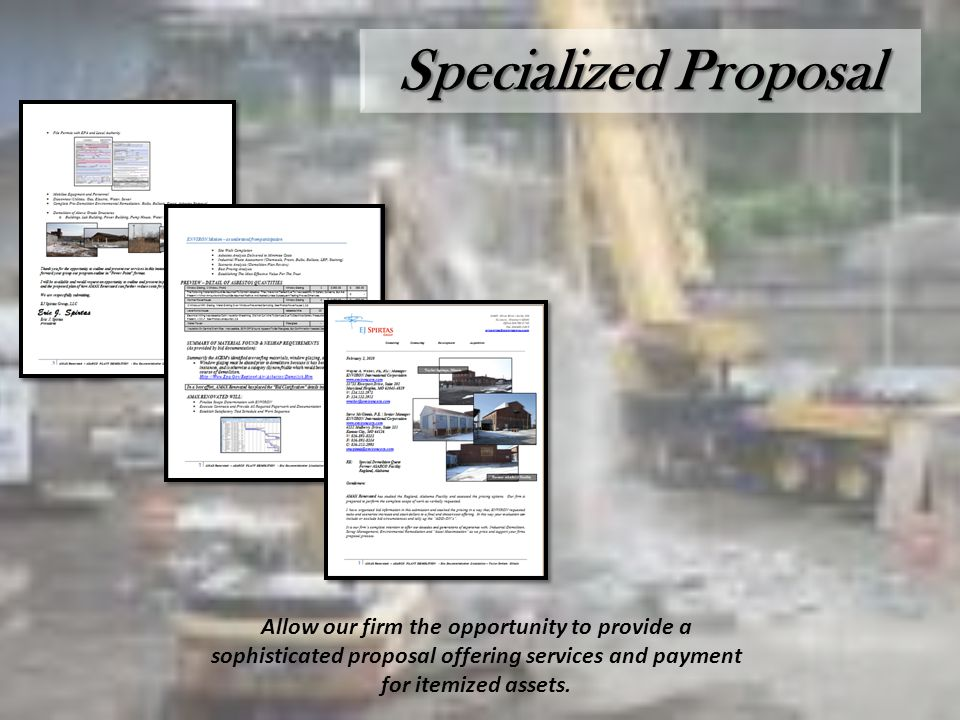Specialized Proposal Allow our firm the opportunity to provide a sophisticated proposal offering services and payment for itemized assets.