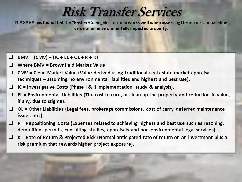 Risk Transfer Services Risk Transfer Services NIAGARA has found that the Rasher-Colangelo formula works well when assessing the intrinsic or baseline