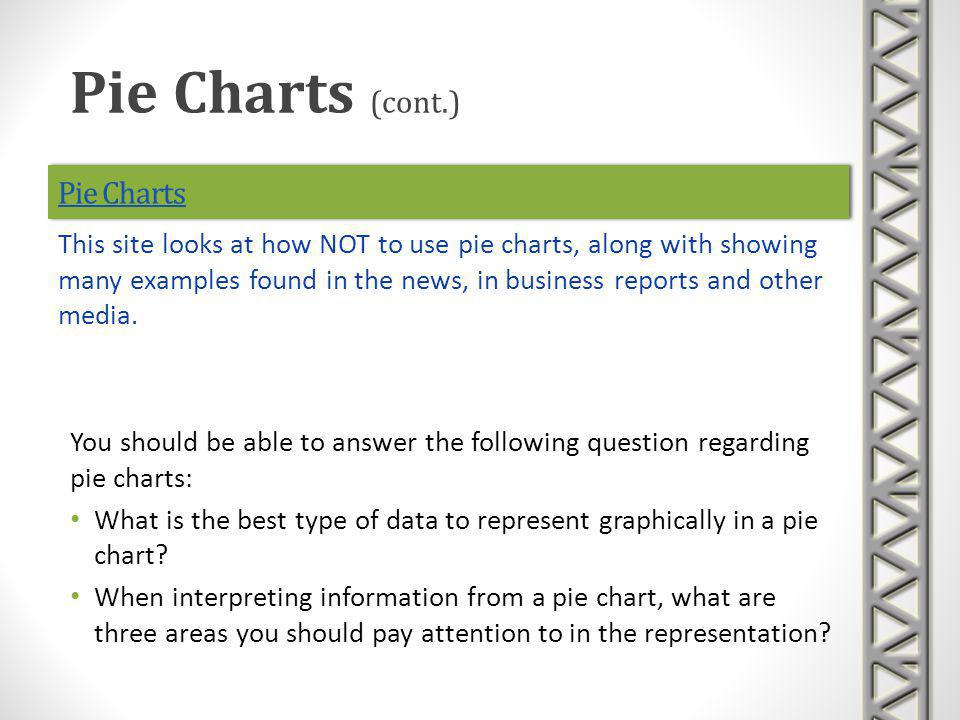 Pie Charts You should be able to answer the following question regarding pie charts: What is the best type of data to represent graphically in a pie c