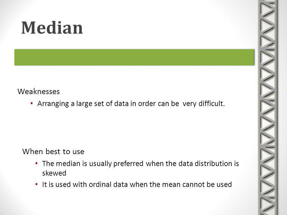 Weaknesses Arranging a large set of data in order can be very difficult. Median When best to use The median is usually preferred when the data distrib