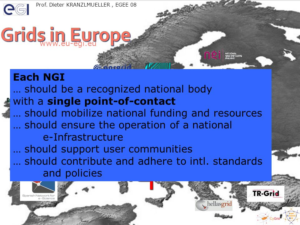 LinkSceem – ISRAGRID – Eddie Aronovich (http://www.cs.tau.ac.il/research/eddie.aronovich) EGEE08 Istanbul, Turkeywww.eu-egi.eu 10 www.eu-egi.eu Each NGI … should be a recognized national body with a single point-of-contact … should mobilize national funding and resources … should ensure the operation of a national e-Infrastructure … should support user communities … should contribute and adhere to intl.